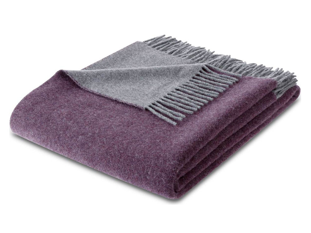Pled Biederlack Wool Cashmere Purple Grey 130x170