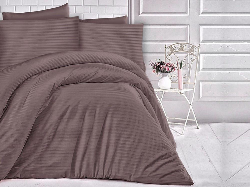 Pościel satynowa Cizgili Stripes Brown 160x200