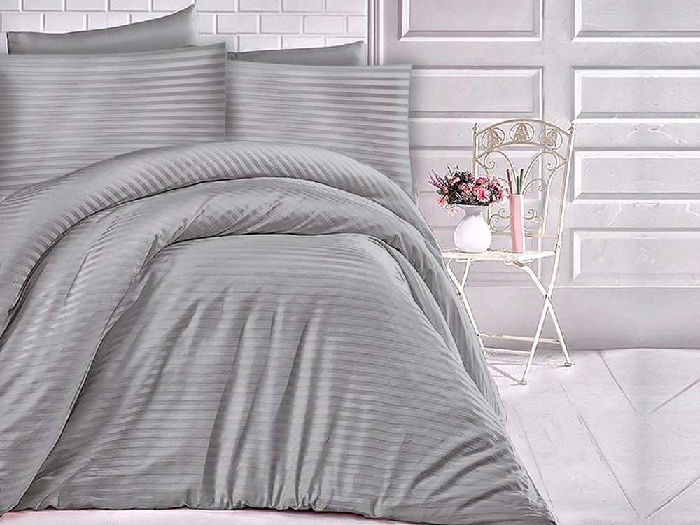 Pościel satynowa Cizgili Stripes Grey 160x200