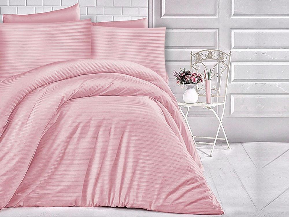 Pościel satynowa Cizgili Stripes Pink
