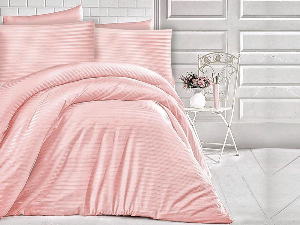 Pościel satynowa Cizgili Stripes Powder Pink 200x220