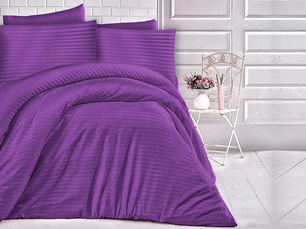 Pościel satynowa Cizgili Stripes Violet 160x200