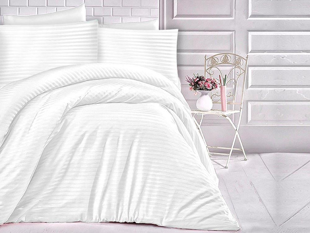 Pościel satynowa Cizgili Stripes White 160x200