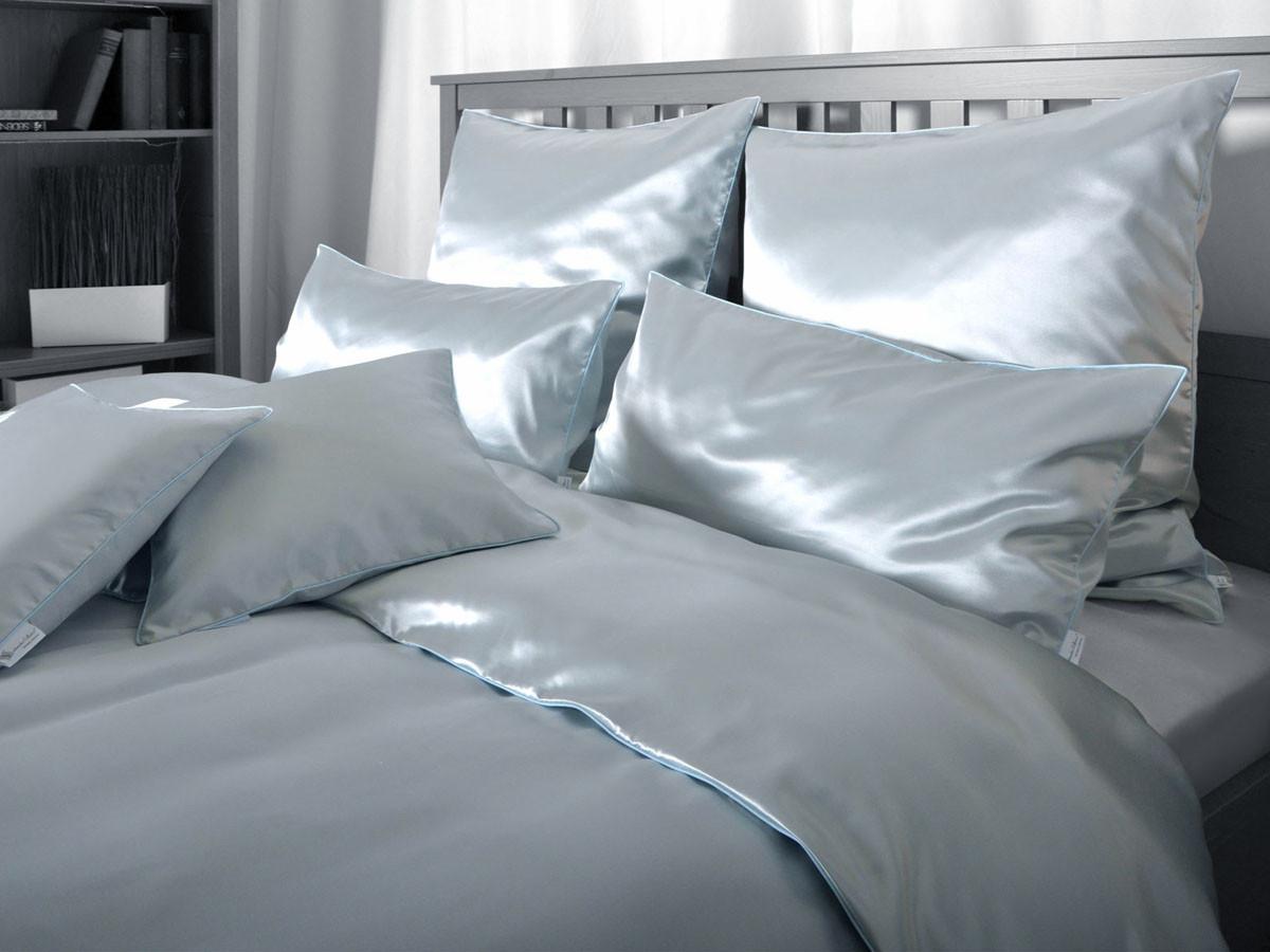 Pościel jedwabna Seidenweber Uni Orient Blue - poszewka na poduszkę 40x40