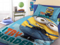 Pościel Minionki Minions Try Harder Blue 160x200..