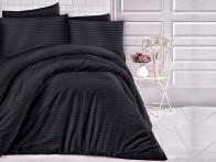 Pościel satynowa Cizgili Stripes Black 160x200..