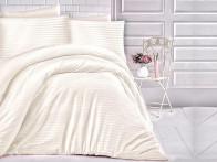 Pościel satynowa Cizgili Stripes Cream 200x220..