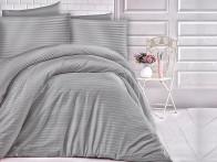 Pościel satynowa Cizgili Stripes Grey 200x220..