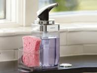 Dozownik do mydła z pojemnikiem na gąbkę Simplehuman