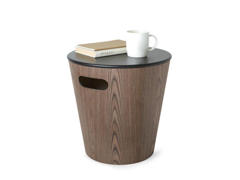 Stołek stolik i pojemnik 3w1 Umbra Woodrow Walnut Black