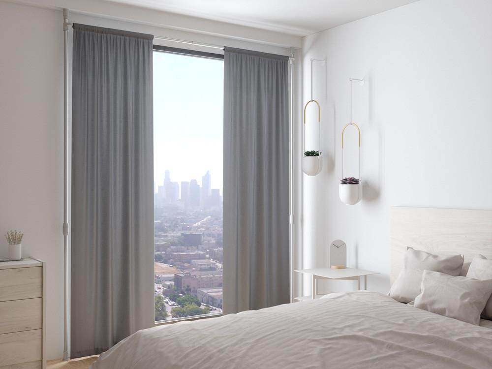 Karnisz rozporowy sufit-podłoga bezinwazyjny regulowany Umbra Anywhere White