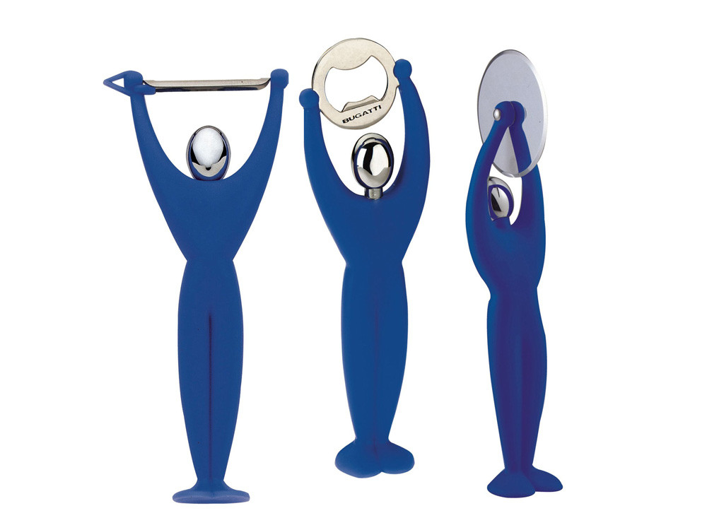 Zestaw x3 otwieracz obierak i nóż do pizzy Bugatti Gym Blue