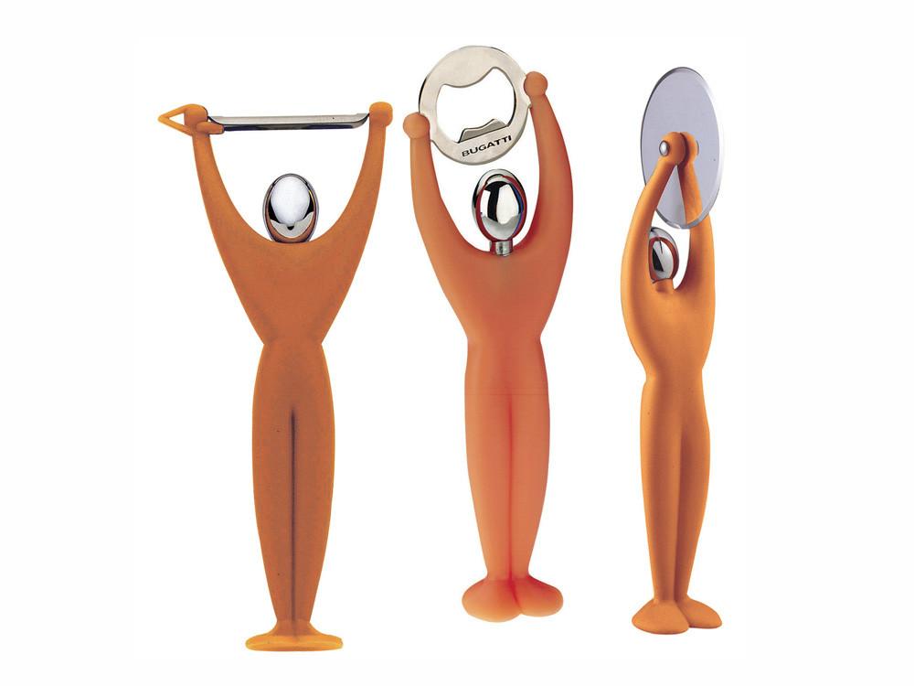 Zestaw x3 otwieracz obierak i nóż do pizzy Bugatti Gym Orange