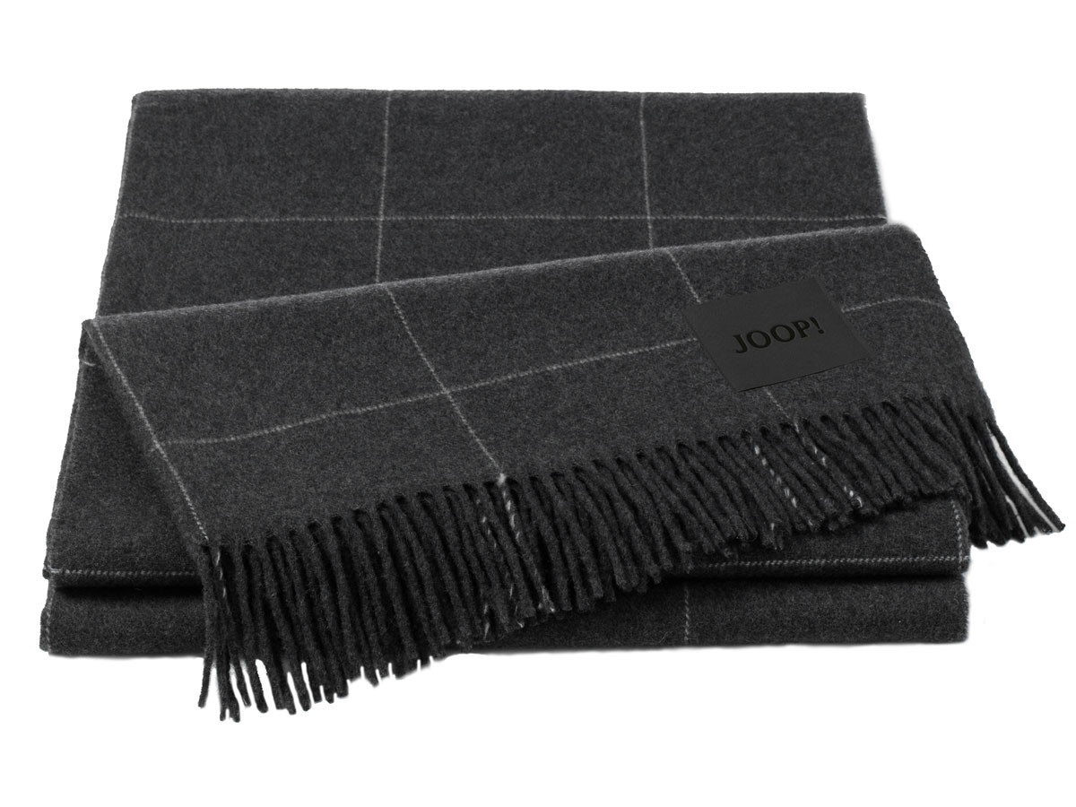 Pled Joop Wool Squares Antrazit 130x180