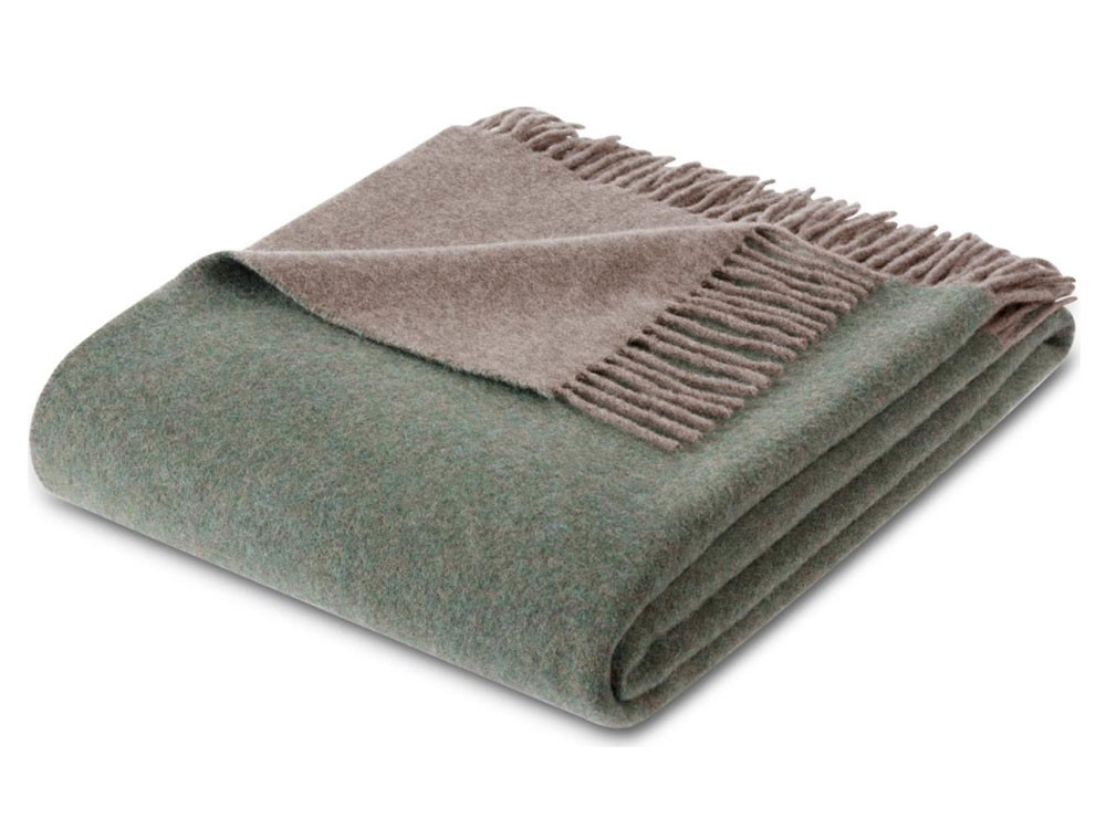 Pled Biederlack Wool Cashmere Green Brown 130x170