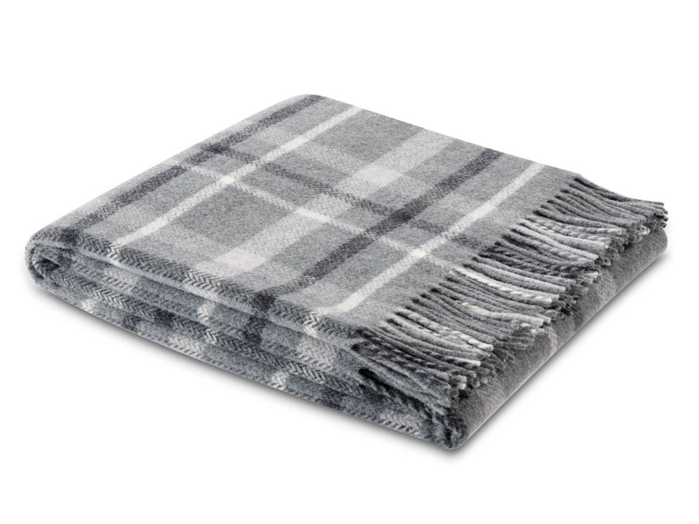 Pled Biederlack Pure Wool Square Grey 130x170