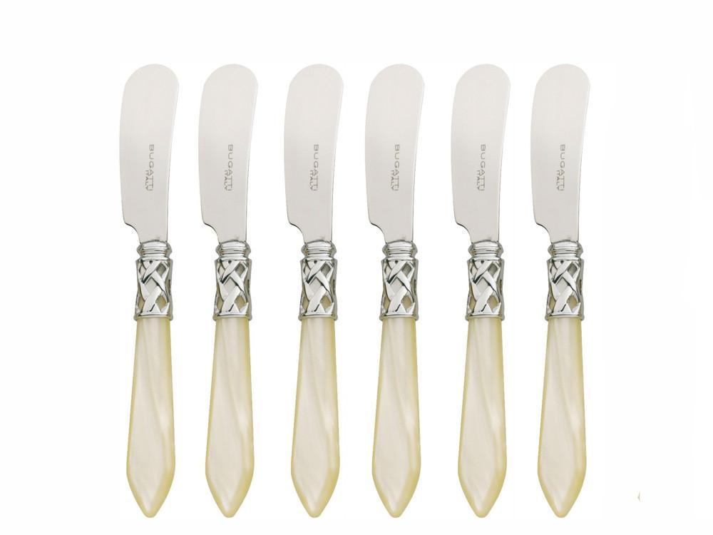 Komplet nożyków do masła x6 Bugatti Aladdin Chrome Ivory