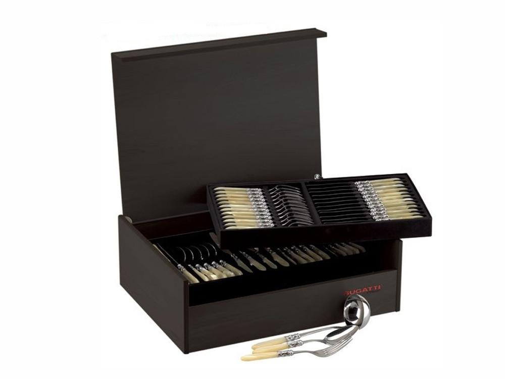 Sztućce stołowe x75 Bugatti Aladdin Chrome Ivory Zestaw dla 12 osób
