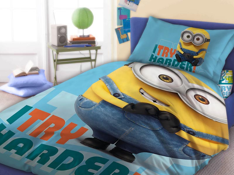 Pościel Minionki Minions Try Harder Blue 160x200