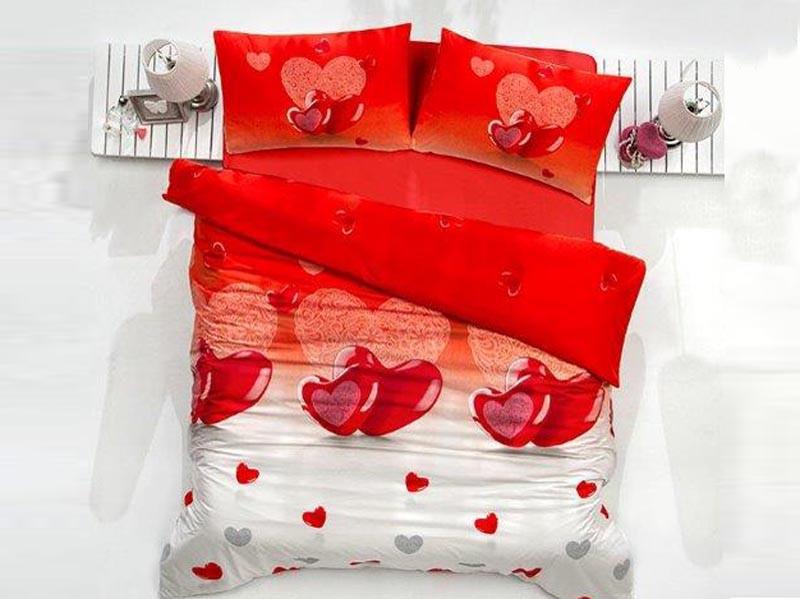Pościel satynowa Valentini Lovely Red 200x220