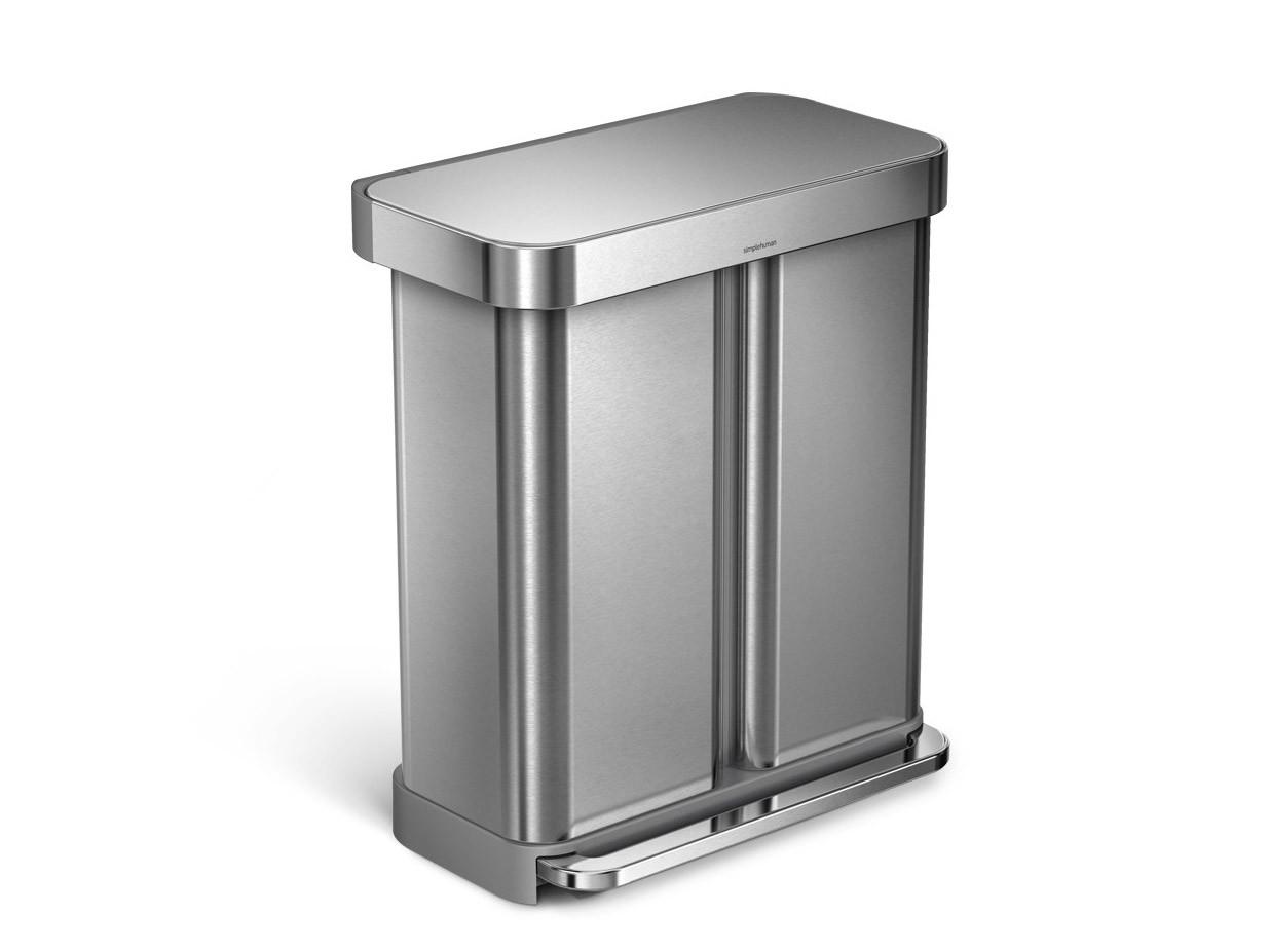 Kosz na śmieci Simplehuman Liner Pocket Recycler Silver FPP 58L